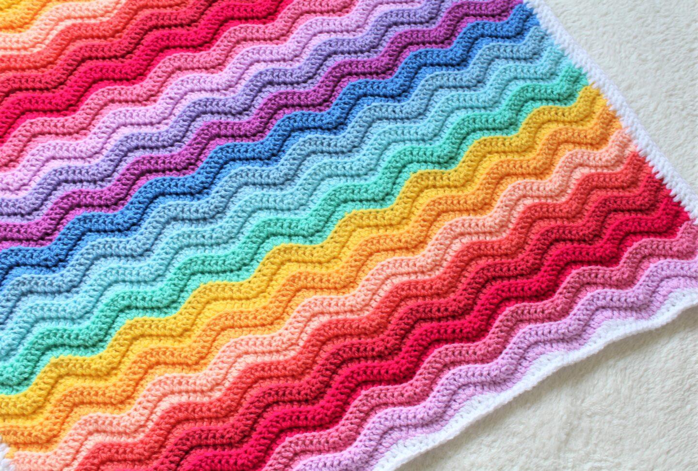 Chunky Rainbow Ripple Baby Blanket Free Crochet Pattern Truly Crochet